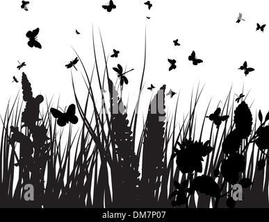 Silhouette di erba Foto Stock