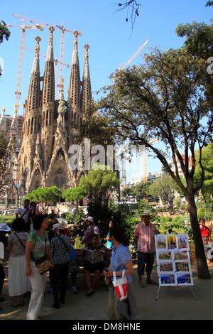 Chiesa de la Sagrada Familia dall architetto Antonio Gaudì, patrimonio mondiale dell UNESCO, Barcellona, Spagna, Foto Stock