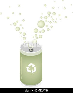 Il carbonato di sodio può con simbolo di riciclaggio per salvare il mondo verde Foto Stock