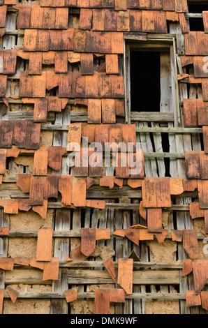 Rotto tegola di tetto Foto Stock