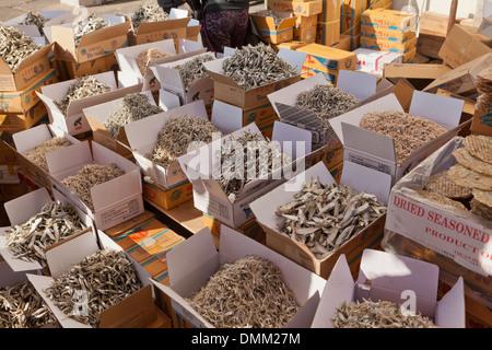 Varie acciughe essiccate in vendita presso Jagalchi shijang (Tradizionale mercato all'aperto) - Busan, Corea del Foto Stock