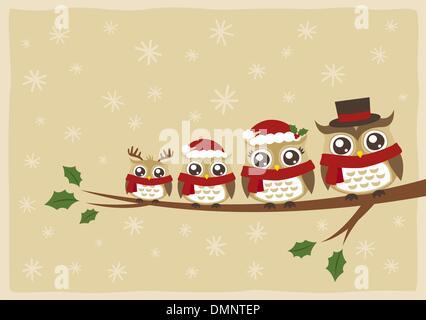 Auguri Di Natale Famiglia.Il Gufo Di Famiglia Di Auguri Di Natale Illustrazione Vettoriale