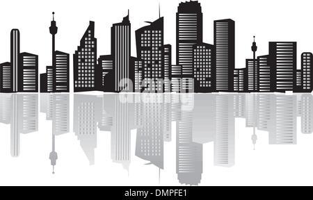 Panorama della città, sagome di case nero Foto Stock
