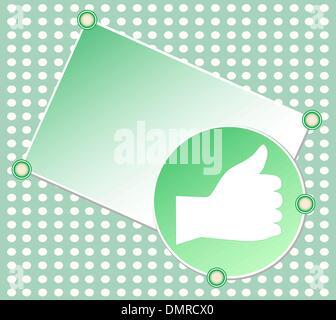 Green segno OK con la mano il vettore vuoto card Foto Stock