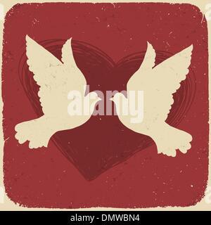 Due amanti colombe. In stile retrò illustrazione, vettore EPS10 Foto Stock