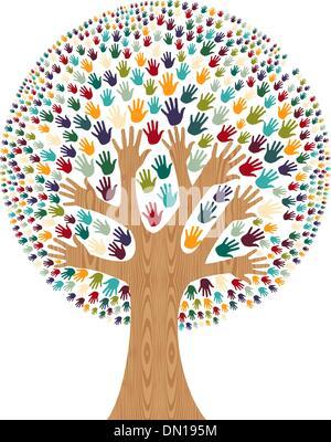 Diversità isolato mani ad albero Foto Stock