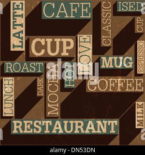 Il caffè a tema retrò seamless background, vettore Foto Stock