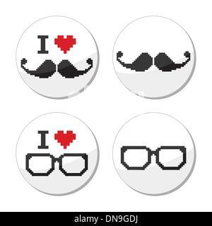 Io amo gli occhiali e baffi / Baffi set di icone Foto Stock