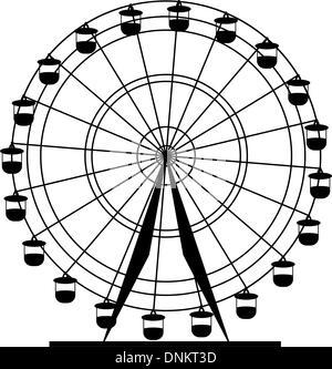 Silhouette atraktsion colorata ruota panoramica Ferris. Illustrazione Vettoriale. Foto Stock