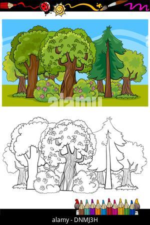 Alberi E Foresta Cartoon Per Libro Da Colorare Foto Immagine Stock