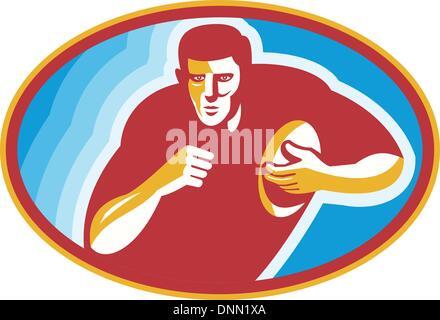 Illustrazione di un giocatore di rugby in esecuzione con sfere all'interno di ellisse fatto in stile retrò. Foto Stock