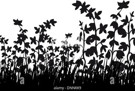 Vettore sagome di erba sfondi con farfalle Foto Stock