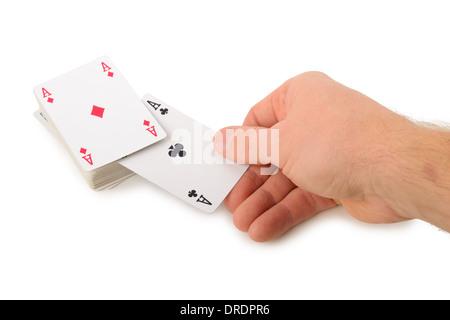 Disegno due assi da un pacco di carte isolati su sfondo bianco Foto Stock