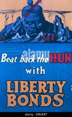 Poster, Beat indietro il Hun con legami Liberty, WW1 Foto Stock