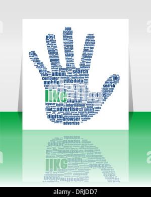 Illustrazione del simbolo della mano, che è composta da testo parole chiave sui social media temi