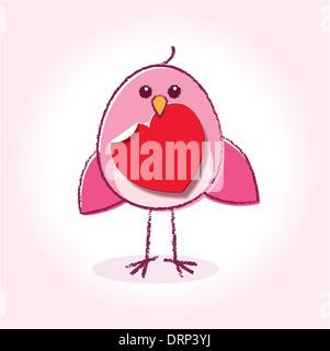 Staring Rosa uccello amore tenendo un cuore nel suo becco su un sfondo incandescente
