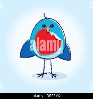 Staring Bluebird con cuore di carta nel suo becco incandescente su sfondo blu