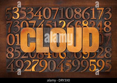 Il cloud computing concetto - la parola in rilievografia vintage tipo di legno contro il numero sullo sfondo Foto Stock
