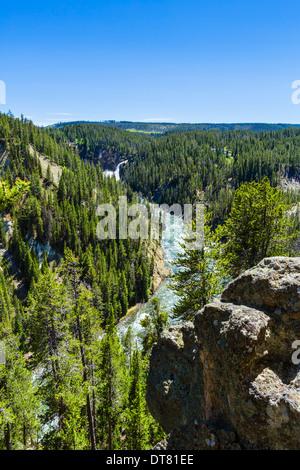 North Rim si affacciano sul Grand Canyon di Yellowstone guardando verso le Cascate Inferiori, il Parco Nazionale Foto Stock