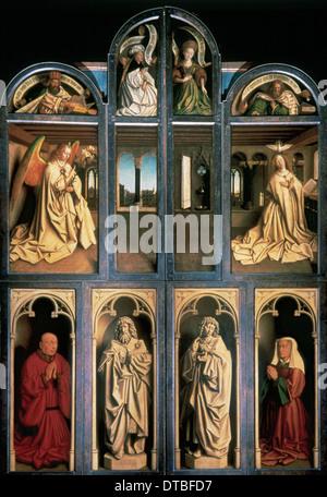 Arte Gotica. L adorazione dell'Agnello mistico di Jan van Eyck (c.1390-c.1441), 1430-32. Profeti e Sibille, Annunciazione, Foto Stock