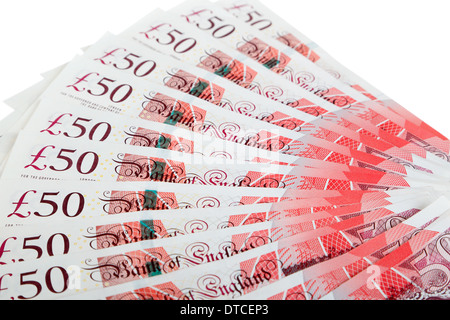 Vista ingrandita della valuta britannica su sfondo bianco
