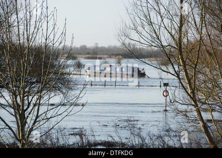 OXFORDSHIRE, Regno Unito. Campi allagati su entrambi i lati del Fiume Tamigi a Swinford vicino Eynsham. Febbraio Foto Stock