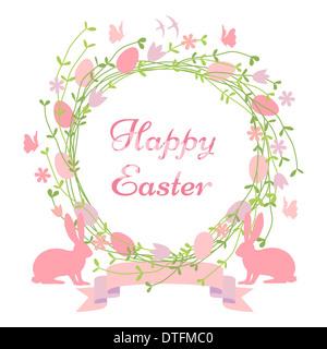 Felice Pasqua card, ghirlanda floreale con coniglietti e uccelli Foto Stock