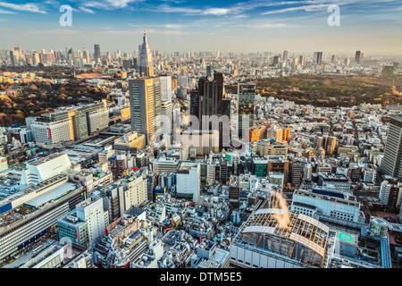 Tokyo, Giappone antenna cityscape cityscape vista al tramonto. Foto Stock
