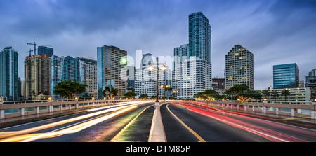Miami, Florida skyline a Biscayne Bay. Foto Stock