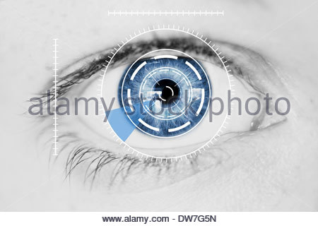 Security scanner Iris su Blu occhio umano Foto Stock