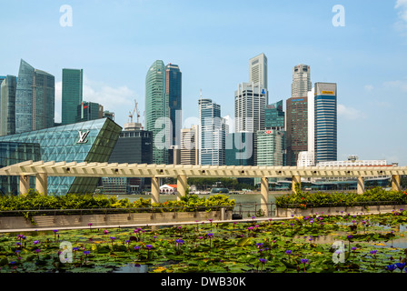 Lo skyline di Singapore visto da the Waterside Promenade, Marina Bay Sands Foto Stock