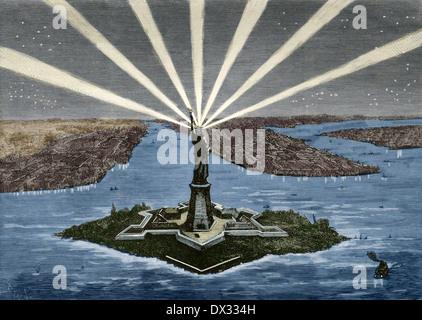 Stati Uniti. Manhattan. New York. La Statua della Libertà. Incisione. Colorati. Foto Stock