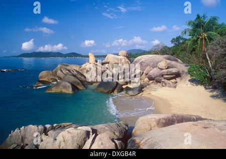 Hin Ta e Hin Yai rocce, Grand rocce, Lamai Beach, Koh Samui, Thailandia Foto Stock