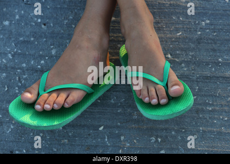 Cape Canaveral, Stati Uniti, piedi in flip-flop Foto Stock