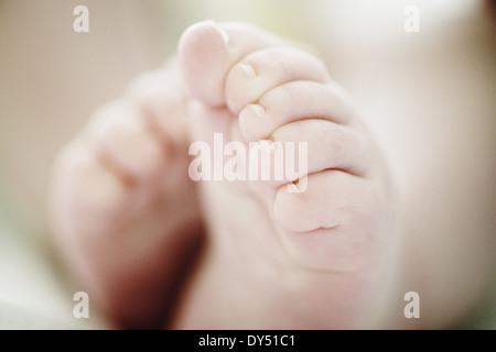 Chiusura del bambino di 4 mesi ragazzi piedi Foto Stock