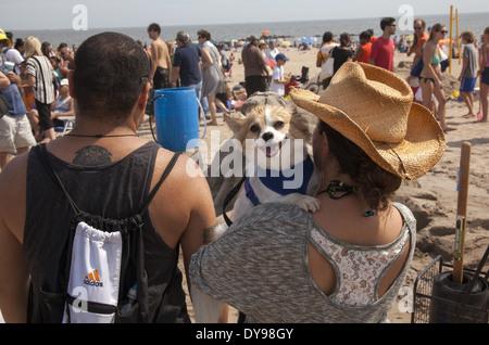 Coppia con il loro piccolo cane sul lungomare che dava sull'oceano a Coney Island. Foto Stock