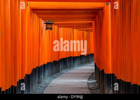 Fushimi Inari Taisha torii gates a Kyoto, in Giappone. Foto Stock