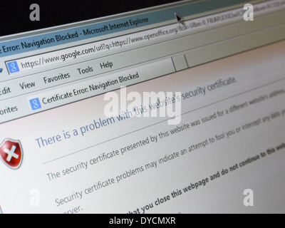 Sicurezza online messaggio di errore Foto Stock