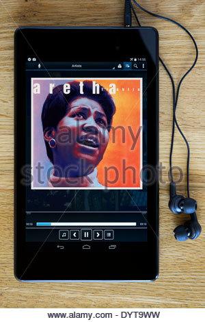 Aretha Franklin, MP3 le copertine degli album su PC tablet, Inghilterra