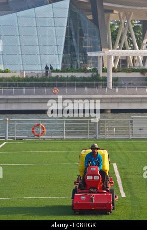 """La falciatura del galleggiante, Groundsman taglia l'erba su """"galleggiante"""", Singapore. Foto Stock"""
