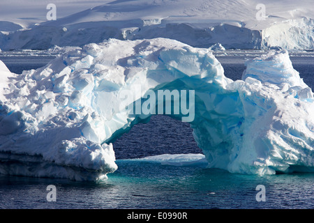 Iceberg arcuato in wilhelmina bay Antartide Foto Stock