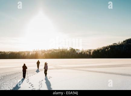 Tre persone nordic walking attraverso la coperta di neve campo Foto Stock