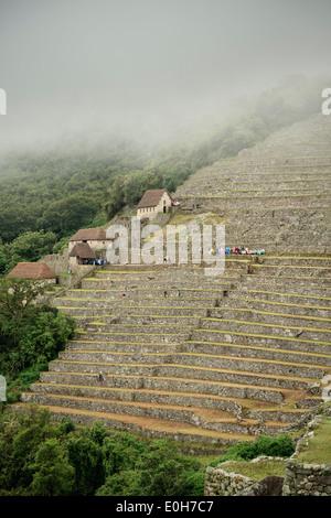 I turisti con la pioggia in plastica ricopre sulle terrazze del Machu Picchu, Cusco, Cuzco, Perù, Ande, Sud America Foto Stock