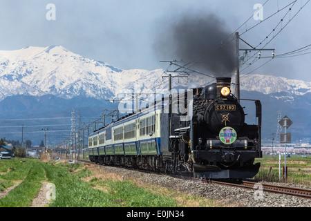 Treno a vapore a Fukushima, Giappone Foto Stock