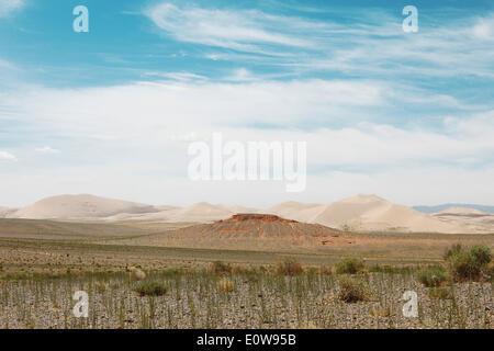 Steppa e dune di sabbia di Khongoryn Els, Gobi Gurvansaikhan National Park, deserto dei Gobi, sud del deserto, Provincia Foto Stock