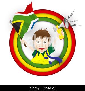 Vettore - Sud Africa tifoso di calcio bandiera Cartoon