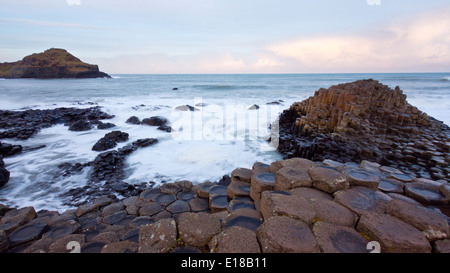 Sunrise al Giants Causeway,l'Irlanda del Nord Foto Stock