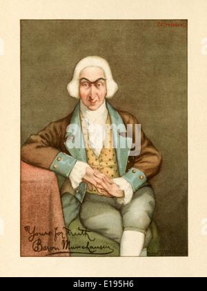 """Peter Newell (1862-1924) illustrazione da 'Le recenti avventure del barone di Munchausen"""" di John Kendrick Bangs pubblicato nel 1901. Foto Stock"""