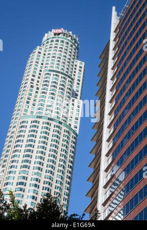 California, California, Los Angeles, centro città, quartiere finanziario, skyline della città, alti grattacieli grattacieli alti edifici torreggiano Foto Stock