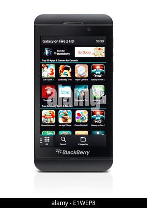 Blackberry Z10 Smartphone Telefono Nero Isolato Su Sfondo Bianco